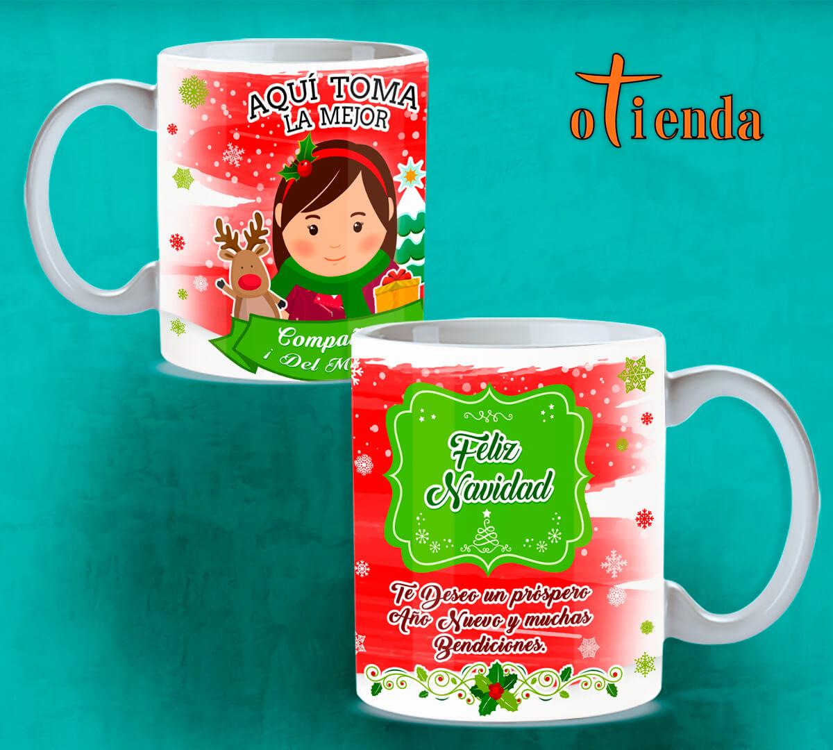 Taza Mug cerámica Aquí toma: La familia en Navidad personalizada