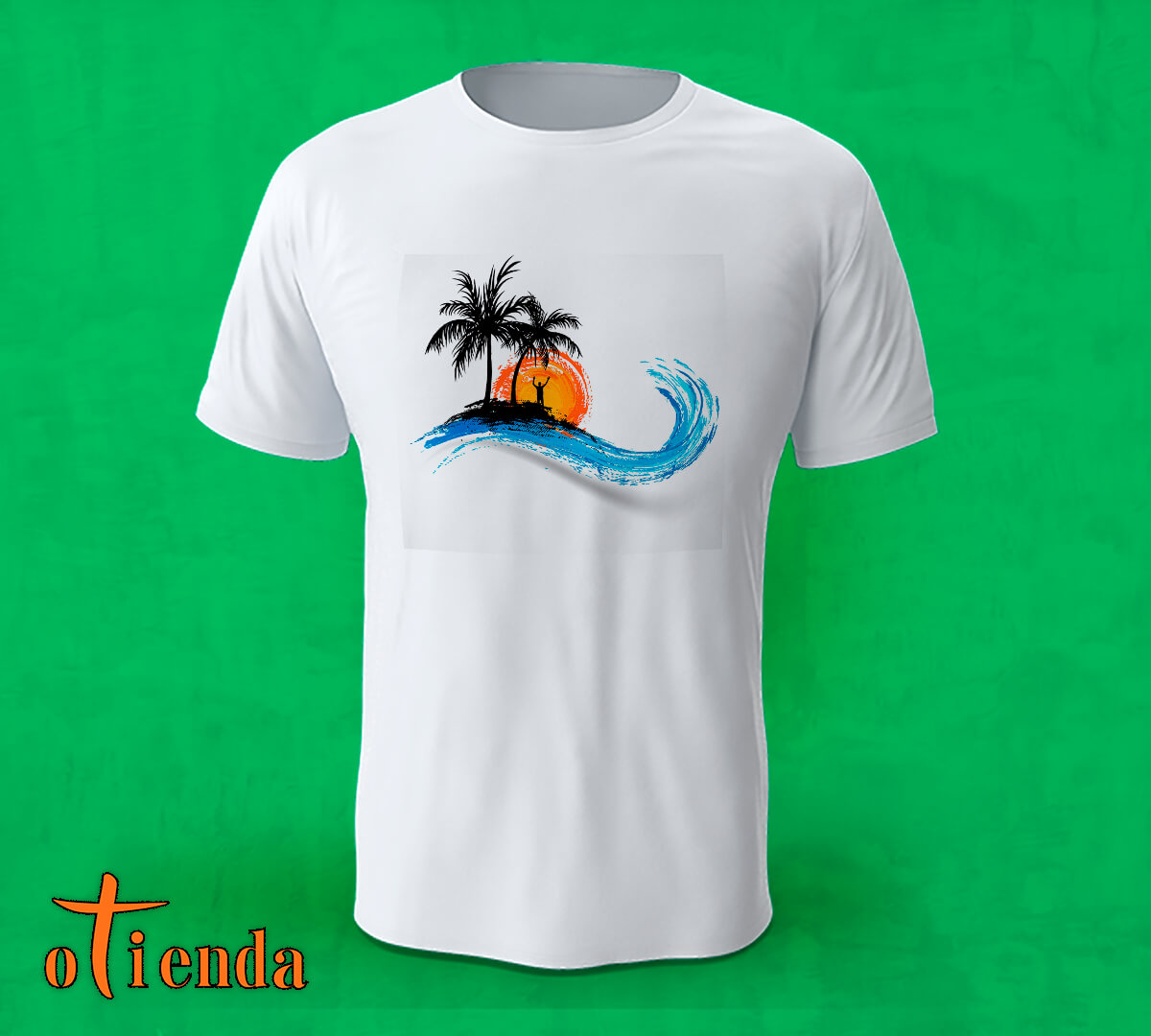 Camiseta Palmeras con Olas al Amanecer personalizada