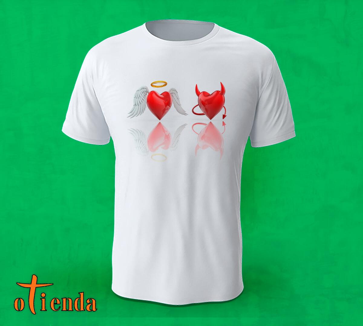 Camiseta Corazón Ángel y Diablo personalizada