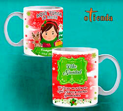 Taza cerámica Aquí toma: La familia en Navidad personalizada