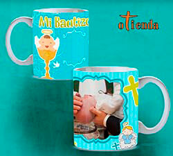 Taza cerámica Bautizo personalizada