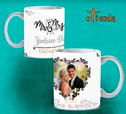 Taza cerámica boda personalizada