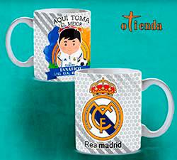 Taza cerámica Aquí toma uno del Real Madrid FC personalizada