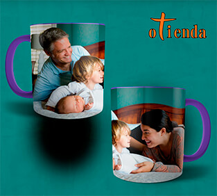 Taza cerámica con interior y asa de color personalizada