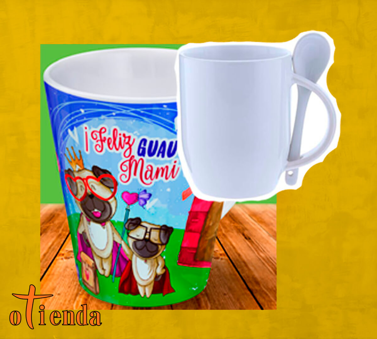 Taza Mug cerámica con cuchara Día de la Madre personalizada